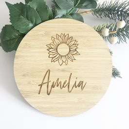 Name Plaque – Sunflower, Rainbow, Wave + Moon