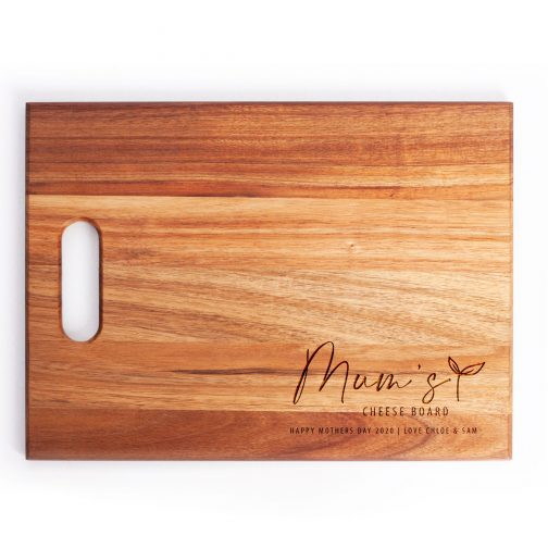 Timber board with personalised mothers day engraving