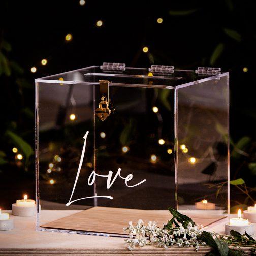 Clear Wedding wishing well box