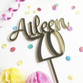 Personalised Name + Age Cake Topper- Aileen font