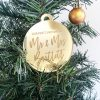 Mr&Mrs Christmas Bauble Personalised Gold Mirror