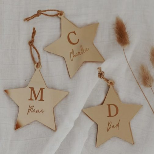 Star Ornaments Personalised Gold Mirror
