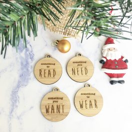 Christmas Gift Tags- Something you Need, Want, Wear + Read