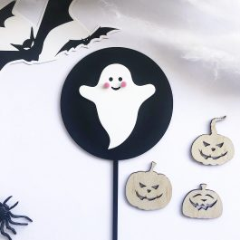 Halloween Cute Ghost Paddle Pop Cake Topper