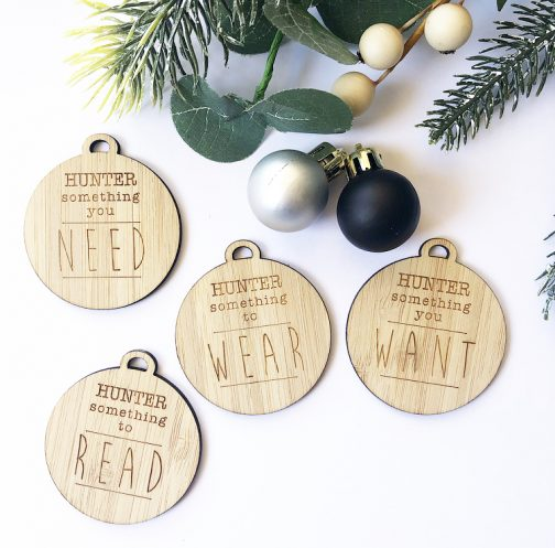 Personalised Christmas Tags Something I Want, Need, Wear + Read Personalised