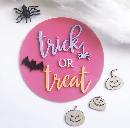 Trick or Treat Round Sign Halloween