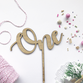 Number Word Cake Topper One Script Font Bamboo