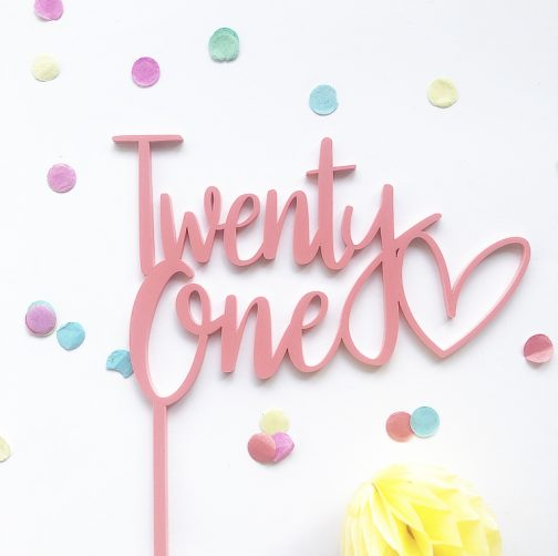 Twenty One with Heart Cake topper Raspberry