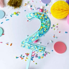 Number Cake Topper- Blue Bubble