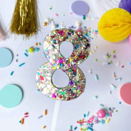 Number Cake Topper- Gold Sparkle
