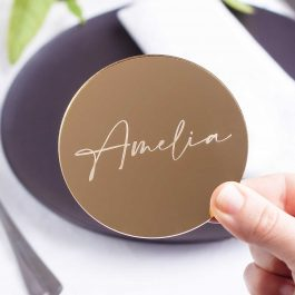Mirrored Acrylic Wedding Coasters – Amelia