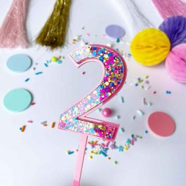 Number Cake Topper- Pink Bubble