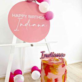 Round Acrylic Birthday Sign- Happy Birthday