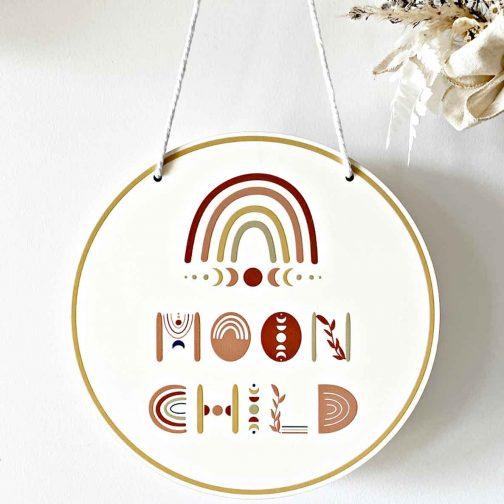 Moon Child Round Print Plaque